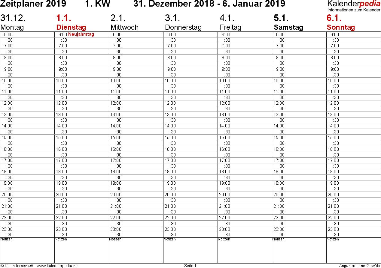Vorlage 3: Wochenkalender 2019 als Excel-Vorlage, Zeitplaner-Layout, Querformat, 53 Seiten (1 Woche auf 1 Seite)