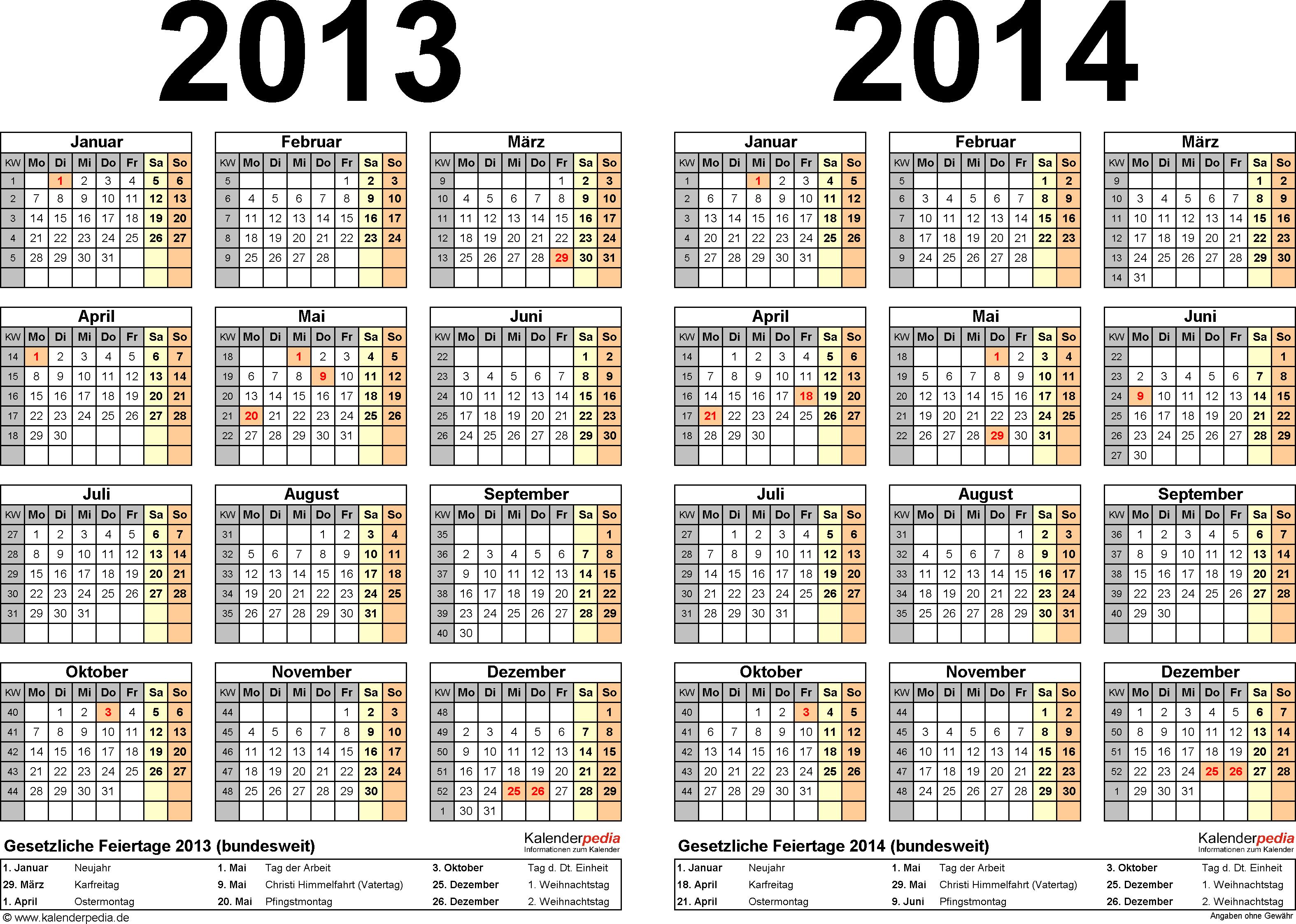 Excel-Vorlage für Zweijahreskalender 2013/2014 (Querformat, 1 Seite)