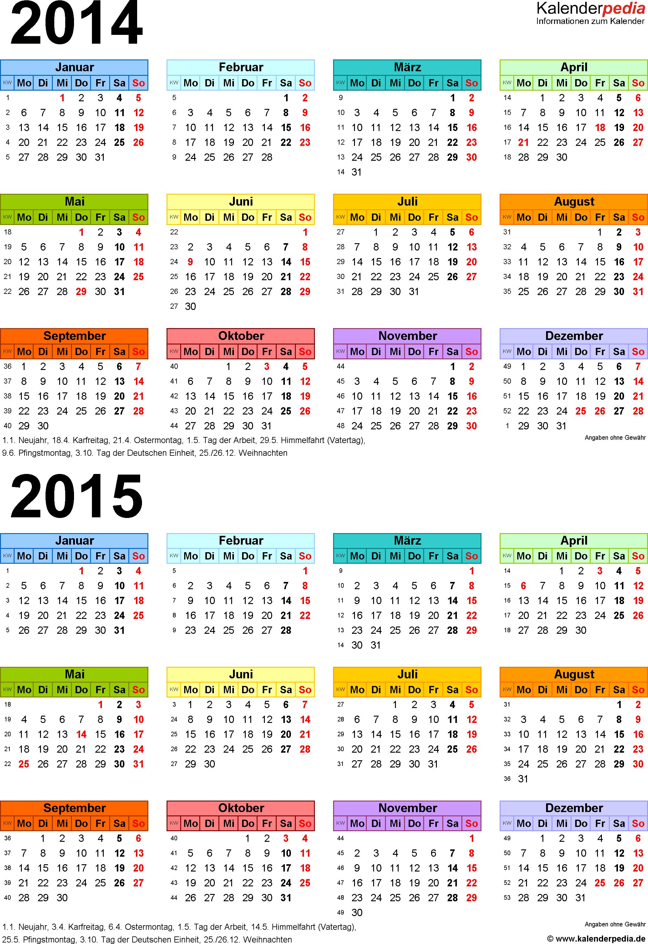 Word-Vorlage für Zweijahreskalender 2014/2015 (Hochformat, 1 Seite, in Farbe)