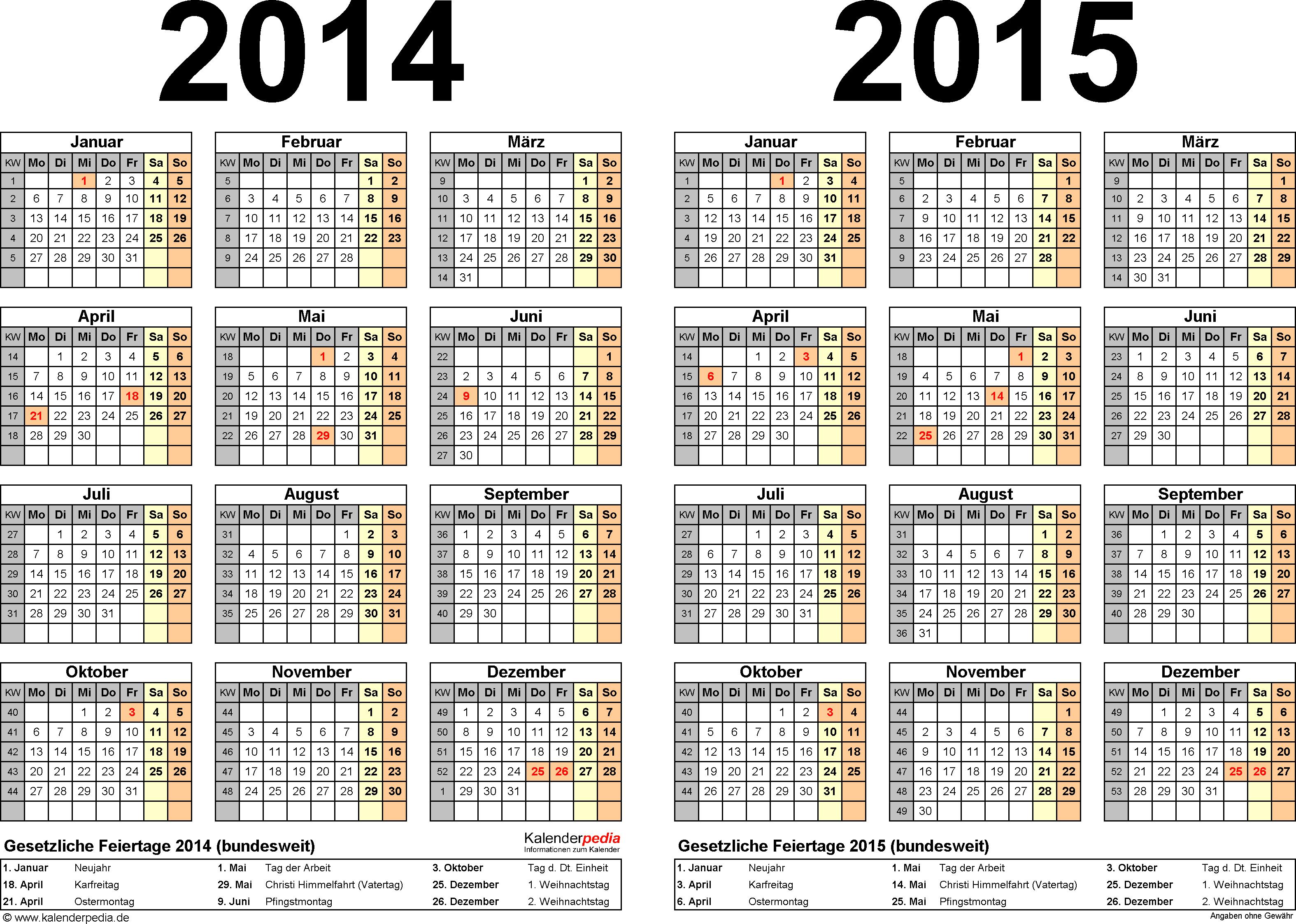 Word-Vorlage für Zweijahreskalender 2014/2015 (Querformat, 1 Seite)