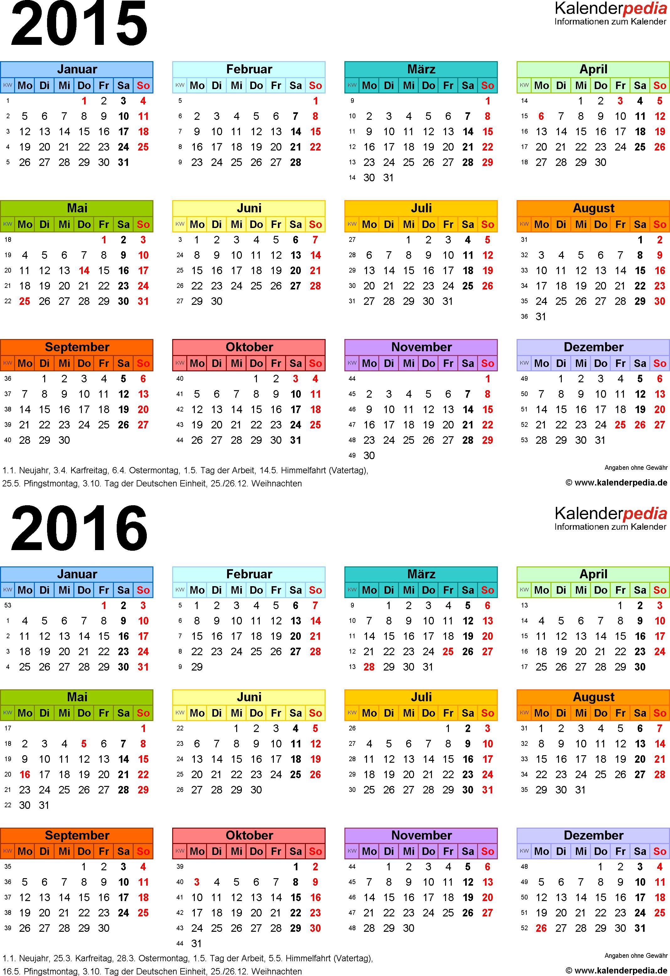 Excel-Vorlage für Zweijahreskalender 2015/2016 (Hochformat, 1 Seite, in Farbe)