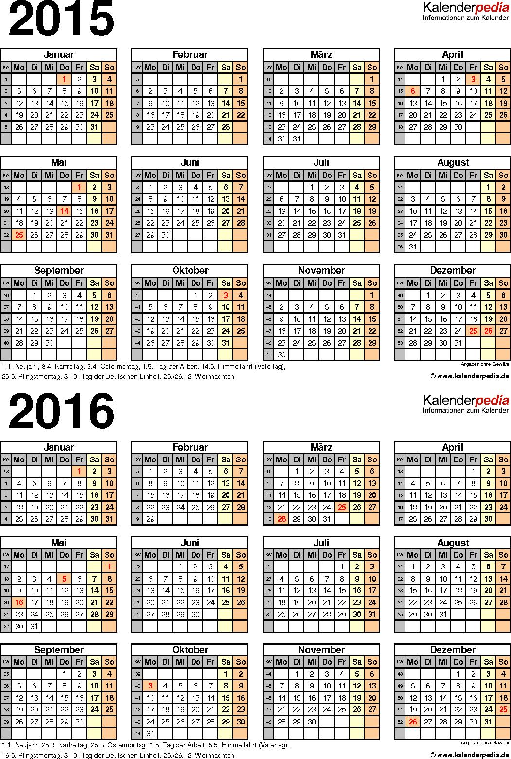 Word-Vorlage für Zweijahreskalender 2015/2016 (Hochformat, 1 Seite)