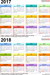Excel-Vorlage für Zweijahreskalender 2017/2018 (Hochformat, 1 Seite, in Farbe)