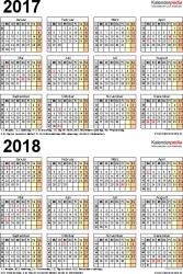 Excel-Vorlage für Zweijahreskalender 2017/2018 (Hochformat, 1 Seite)