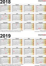 Excel-Vorlage für Zweijahreskalender 2018/2019 (Hochformat, 1 Seite)