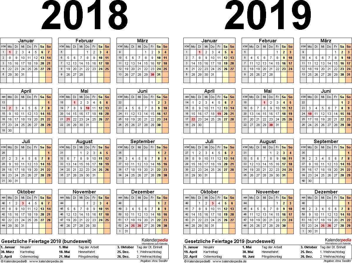 PDF-Vorlage für Zweijahreskalender 2018/2019 (Querformat, 1 Seite)
