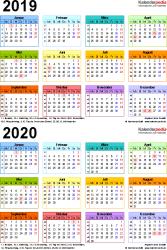 Excel-Vorlage für Zweijahreskalender 2019/2020 (Hochformat, 1 Seite, in Farbe)