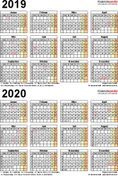 Excel-Vorlage für Zweijahreskalender 2019/2020 (Hochformat, 1 Seite)
