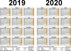 Excel-Vorlage für Zweijahreskalender 2019/2020 (Querformat, 1 Seite)