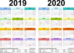 PDF-Vorlage für Zweijahreskalender 2019/2020 (Querformat, 1 Seite, in Farbe)