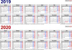Excel-Vorlage für Zweijahreskalender 2019/2020 (Querformat, 1 Seite, in Farbe)