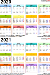 Excel-Vorlage für Zweijahreskalender 2020/2021 (Hochformat, 1 Seite, in Farbe)