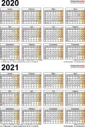 Excel-Vorlage für Zweijahreskalender 2020/2021 (Hochformat, 1 Seite)