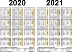 Excel-Vorlage für Zweijahreskalender 2020/2021 (Querformat, 1 Seite)