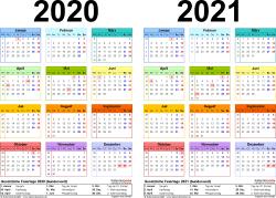 Excel-Vorlage für Zweijahreskalender 2020/2021 (Querformat, 1 Seite, in Farbe)