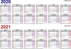 Excel-Vorlage für Zweijahreskalender 2020/2021 (Querformat, 1 Seite, in Farbe, Jahre linear)