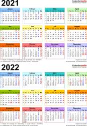 Excel-Vorlage für Zweijahreskalender 2021/2022 (Hochformat, 1 Seite, in Farbe)