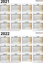 Excel-Vorlage für Zweijahreskalender 2021/2022 (Hochformat, 1 Seite)