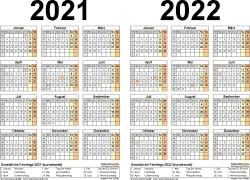 Excel-Vorlage für Zweijahreskalender 2021/2022 (Querformat, 1 Seite)