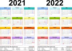 Excel-Vorlage für Zweijahreskalender 2021/2022 (Querformat, 1 Seite, in Farbe)