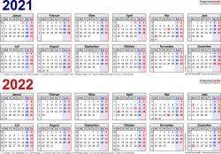 Excel-Vorlage für Zweijahreskalender 2021/2022 (Querformat, 1 Seite, in Farbe, Jahre linear)