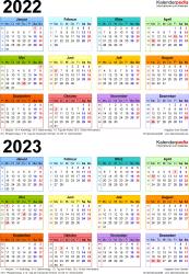 PDF-Vorlage für Zweijahreskalender 2022/2023 (Hochformat, 1 Seite, in Farbe)