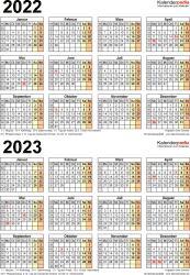 PDF-Vorlage für Zweijahreskalender 2022/2023 (Hochformat, 1 Seite)
