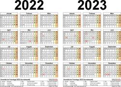 PDF-Vorlage für Zweijahreskalender 2022/2023 (Querformat, 1 Seite)
