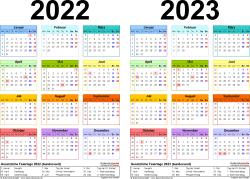 PDF-Vorlage für Zweijahreskalender 2022/2023 (Querformat, 1 Seite, in Farbe)