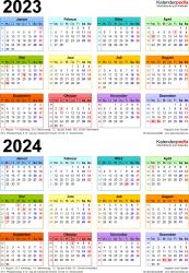 PDF-Vorlage für Zweijahreskalender 2023/2024 (Hochformat, 1 Seite, in Farbe)