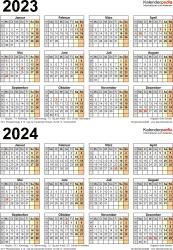 PDF-Vorlage für Zweijahreskalender 2023/2024 (Hochformat, 1 Seite)