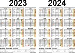 PDF-Vorlage für Zweijahreskalender 2023/2024 (Querformat, 1 Seite)
