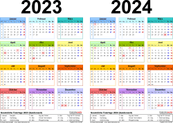 PDF-Vorlage für Zweijahreskalender 2023/2024 (Querformat, 1 Seite, in Farbe)