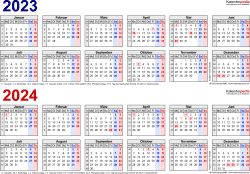 PDF-Vorlage für Zweijahreskalender 2023/2024 (Querformat, 1 Seite, in Farbe, Jahre linear)