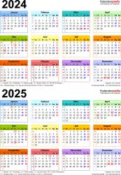 Word-Vorlage für Zweijahreskalender 2024/2025 (Hochformat, 1 Seite, in Farbe)
