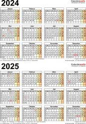 PDF-Vorlage für Zweijahreskalender 2024/2025 (Hochformat, 1 Seite)