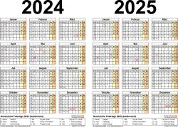 PDF-Vorlage für Zweijahreskalender 2024/2025 (Querformat, 1 Seite)