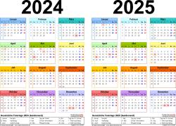 Word-Vorlage für Zweijahreskalender 2024/2025 (Querformat, 1 Seite, in Farbe)