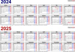 Word-Vorlage für Zweijahreskalender 2024/2025 (Querformat, 1 Seite, in Farbe, Jahre linear)